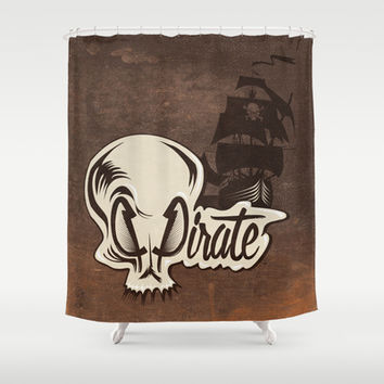Pirate Shower Curtain by Tony Vazquez