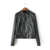Black Faux Leather Side Zipper Stand-Collar Jacket
