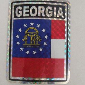 "Georgia Flag Reflective Sticker 3""x4"" Inches Adhesive Car Bumper Decal"