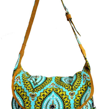 Acid Tapestry print canvas and Suede bohemian Messanger bag | canvas bag | suede bag