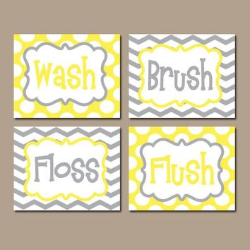 Yellow Gray BATHROOM Rules Wall Art, CANVAS or Prints Boy Girl Yellow Gray Wash Brush Floss Flush Choose Colors Chevron Polka Dots Set of 4