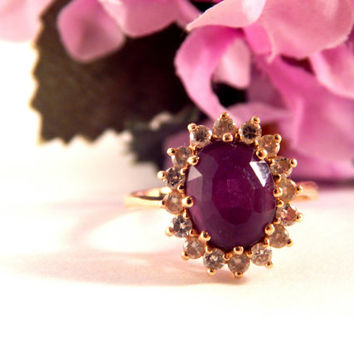 Amethyst and Diamond Ring 14k Yellow Gold Vintage Fine Jewelry Oval Solitaire with Accents Regal Elegant Purple