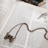 Twitcher's Delight Binocular Pendant Necklace in Bronze | Sincerely Sweet Boutique