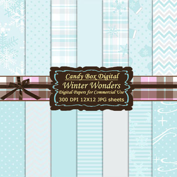 Winter Digital, Winter Paper, snow digital paper, snow paper, Digital Scrapbook Paper, Digital Scrapbooking - Commercial Use OK