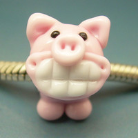 Porkchop the Grinning Pig Handmade Lampwork Glass Universal BHB European Charm Big Hole Bead sra Gelly