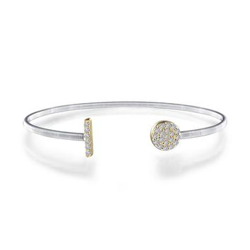 Lafonn Sterling Silver Two-Tone Milano Style Bangle Bracelet with Pave Endcaps
