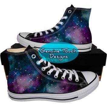 Custom Converse, Galaxy, Nebula, Fanart shoes, Custom Chucks, painted shoes, personali