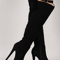Nelly-27 Buckle Stiletto Thigh High Platform Boot