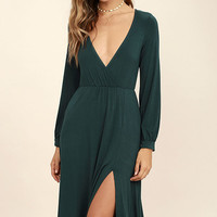 Right for Me Forest Green Long Sleeve Midi Dress