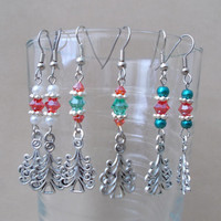 Handmade Silver Avant Garde Christmas Tree, Pearl & Bright Crystal Dangle Earrings, Holiday Jewelry, Festive, Cute, Playful, Fashion Jewelry