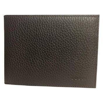 Gucci Men's Leather Embossed Logo Tri-fold Wallet 217044 Dark Chocolate