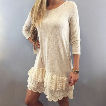 Long Sleeve Top with Ruffled Lace Bottom