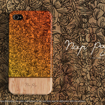 Apple iphone case for iphone iphone 5 iphone 5s iphone 5c iphone 4 iphone 4s iPhone 3Gs : orange flowers with wood(not real wood)