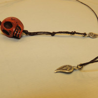 Unisex Hemp String Day of the Dead Skull and Leaf Necklace