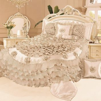 Tache 6 Piece Luxury Floral Faux Satin Frosted Field in Cream Comforter Set