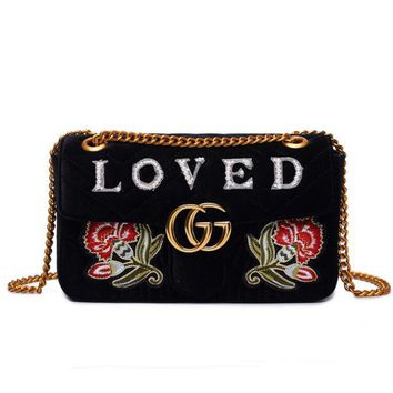 Gotopfashion Gucci Bag Velvet Women Shopping Flower Print Bag Shoulder Bag LOVE / MODERN Word Bag B104478-1 Flower Black