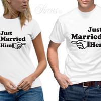 Just Married Him Her Arrow T-Shirt Set Funny Designer Mens Womens Wedding Tshirt Matching Couples Tees Shirts XS-3XL