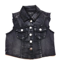 Edgy Spike Detail Cropped Denim Vest In Vintage Black/Gunmetal Spike | Thirteen Vintage