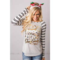 Stripe Christmas Pattern Print Letter Long Sleeve Top Blouse