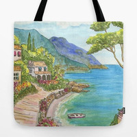 Mediterranean Seaside Village Tote Bag, coastal, chic travel bag, gift for mom