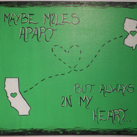 CUSTOM Miles Apart... From State to State / 8 x 10 FLAT Canvas Panel. Convo ME for an 8x10 stretched canvas instead