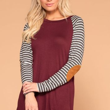 Erin Burgundy Stripe Sleeve Elbow Patch Top