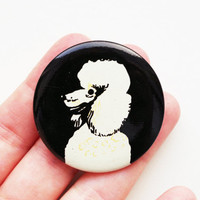 Vintage (4 cm) 1.57'' dog pet animal canine wolf poodle brooch badge token clasp pinion pin button cordon band medallion pinback