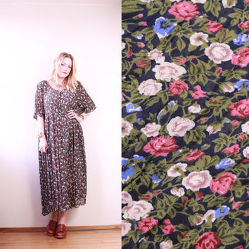 90s - Black & Olive Green Floral - Crinkle - Button Up - Baby Doll - Maxi Dress - Romantic - Grunge Revival - Plus Size - XL - XXL - 18/20