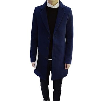 Single-Breasted Plus Size Solid Wool Coats 2017 Spring Fashion Slim Long Jackets Men Turn Down Collar Korean Warm Outwear Blue