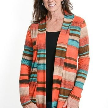 Coral Striped Colorful Cardigan