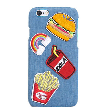 Fast Food Patch Denim iPhone Case | Wet Seal