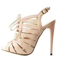 Nude Caged Lace-Up Slingback Heels by Charlotte Russe
