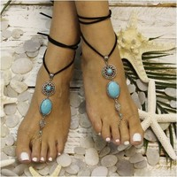 TURQUOISE - barefoot sandals - silver (ooak)
