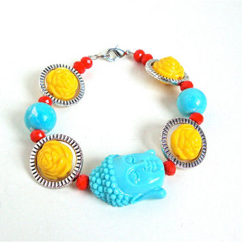 Light blue Buddha bracelet with yellow roses - funky, zen, hip sweet buddha love beaded bracelet by Sparkle City Jewelry