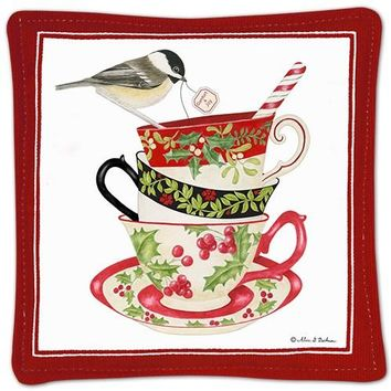 Stacked Holiday Teacups with Snowbird Gift Boxed Spice Mug Mats