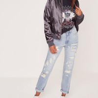 Missguided - Riot High Rise Destroyed Mom Jeans Blue