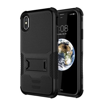 For iPhone X Hybrid Case TPU & PC Back Cover Kickstand Defender Case Armor Shockproof Marble 3in1 Cases Mobile Phone Shell