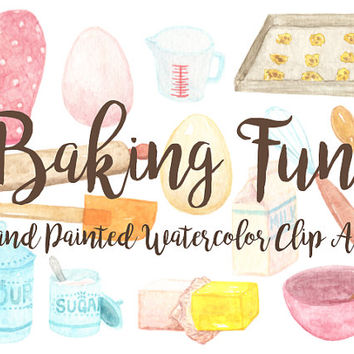 Baking Watercolor Clipart Kitchen pantry cooking Party Digital File cookies Download decoration digital kids birthday invitation cake butter