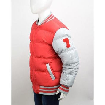Boys Red/Grey Bubble Varsity Jackets Size 4-7