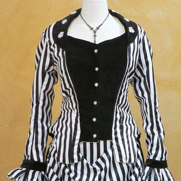 Custom Made Circa 1870's Steampunk Striped Bustle Gown Victorian Historical Costume/Party Dresses