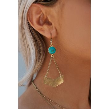 Zelda Drop Earrings (Gold/Green)
