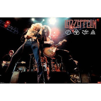 (24x36) Led Zeppelin (Live on Stage) Music Poster Print