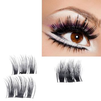 1 Pair/4 Piece Ultra-thin 0.4mm 3D Fiber Magnetic False Eye lashes