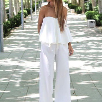 White Strapless Cape Jumpsuit
