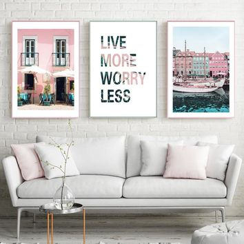 Industrial Decor Posters And Prints Colorful Building Wall Art Poster Nordic Pink Cuadros Decoracion Hogar Moderno Unframed