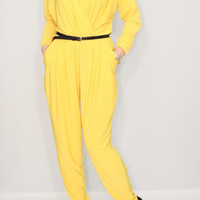 Yellow jumpsuit Long sleeve jumpsuit Batwing jumpsuit with pockets