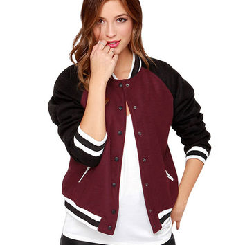 Contrast Color Bomber Jacket with Pockets