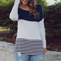 Color Block Lace Paneled Striped Tee