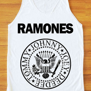 Ramones Shirt American Rock Band  Punk Rock Shirt Women Tank Top Women Shirt Unisex Shirt Vest Women Sleeveless Singlet White Shirt S,M,L