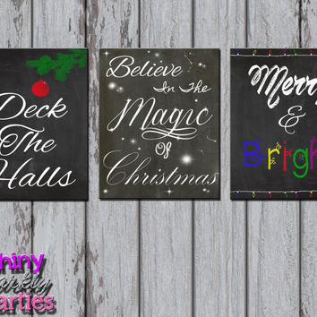CHRISTMAS CHALKBOARD PRINTABLE - Christmas Party Decor - Chalkboard Christmas Signs - Christmas Party Signs - Diy Christmas Decoration Art